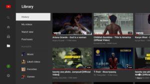 Меню Smart youtube tv